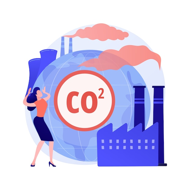 Wereldwijde co2-uitstoot abstract concept Gratis Vector