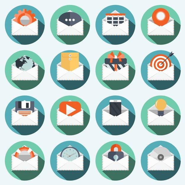 Wereldwijde communicatie pictogramserie Premium Vector