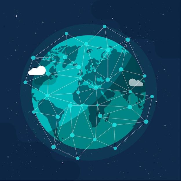 Wereldwijde communicatie toekomstige technologiezaken rond de planeetwereld vanuit ruimteconcept of aarde internet sociaal wereldwijd netwerk cartoon illustratie modern Premium Vector