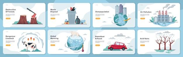 Wereldwijde ecologieproblemen ingesteld. milieuramp, aarde in gevaar. ontbossing en klimaatverandering. illustratie in stijl Premium Vector