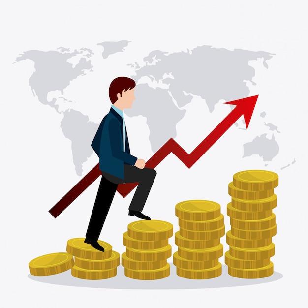 Wereldwijde economie, geld en bedrijfsleven Gratis Vector