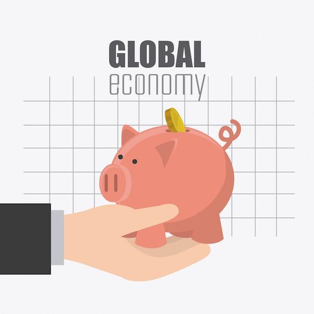 Wereldwijde economie, geld en zakelijk ontwerp. Gratis Vector