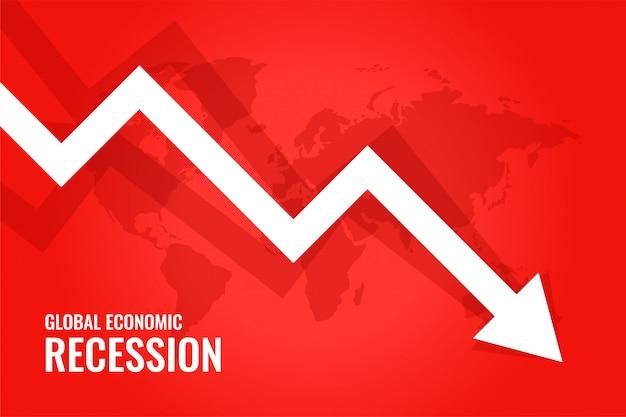 Wereldwijde economische recessie ondergang pijl rode achtergrond Gratis Vector