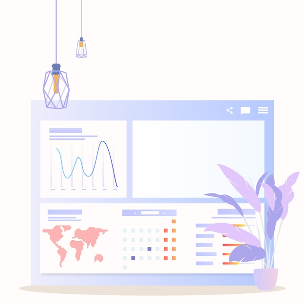Wereldwijde gegevensanalyse grath zakenvrouwkarakter Premium Vector