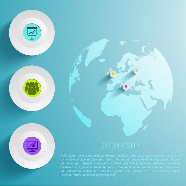 Wereldwijde infographic sjabloon Gratis Vector