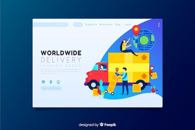 Wereldwijde leveringslandingspagina Gratis Vector