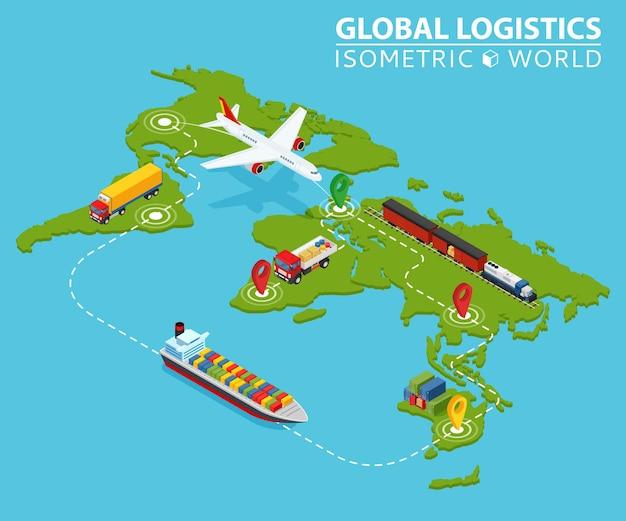 Wereldwijde logistieke isometrische voertuig infographic. ship cargo truck van logistics service. Premium Vector