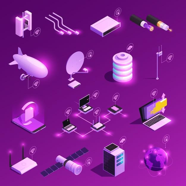 Wereldwijde netwerk isometrische gloeiende iconen van apparatuur voor internettechnologie geïsoleerd op paars Gratis Vector