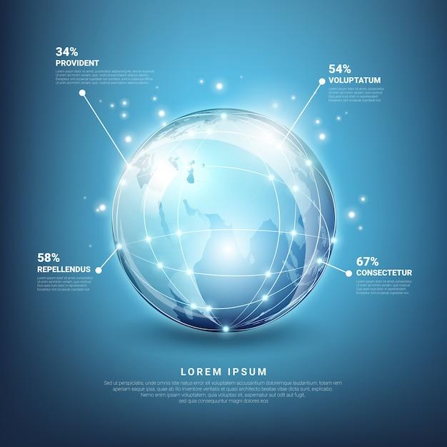 Wereldwijde netwerken infographics. web aarde-technologie, planeetkaart bol Gratis Vector