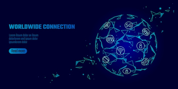 Wereldwijde netwerkverbinding 5g internet hoge snelheid. Premium Vector