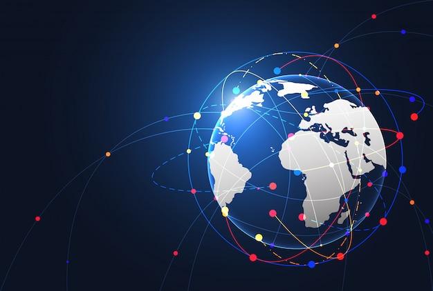 Wereldwijde netwerkverbinding. wereldkaart punt en lijn samenstelling concept Premium Vector