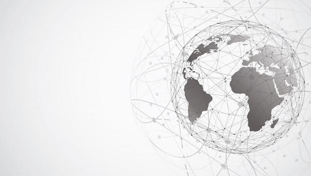 Wereldwijde netwerkverbinding. wereldkaartpunt Premium Vector