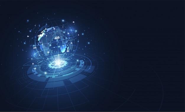 Wereldwijde netwerkverbinding, wereldkaartpunt Premium Vector