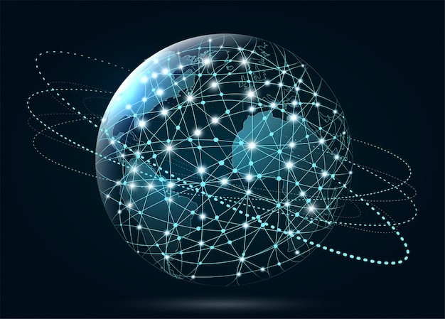 Wereldwijde netwerkverbinding. world wide web, verbinding van lijnen a Premium Vector