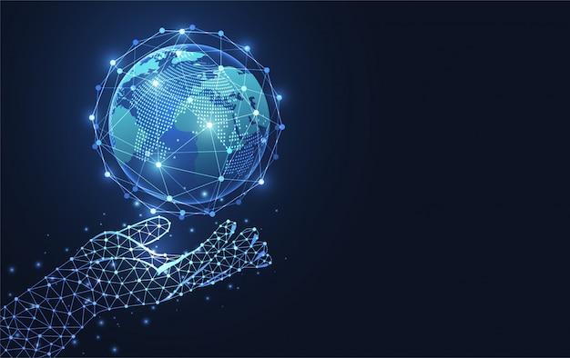Wereldwijde netwerkverbinding. Premium Vector