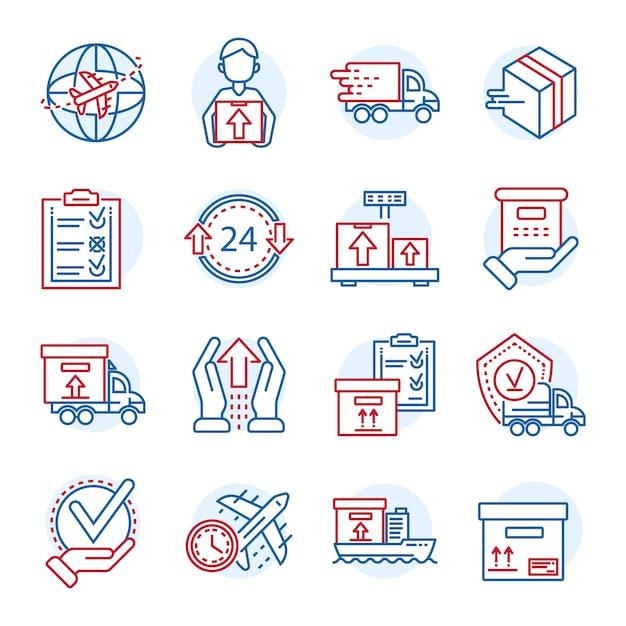 Wereldwijde pakketbezorging pictogramserie. overzichtsreeks van de globale vectorpictogrammen van de pakketlevering Premium Vector