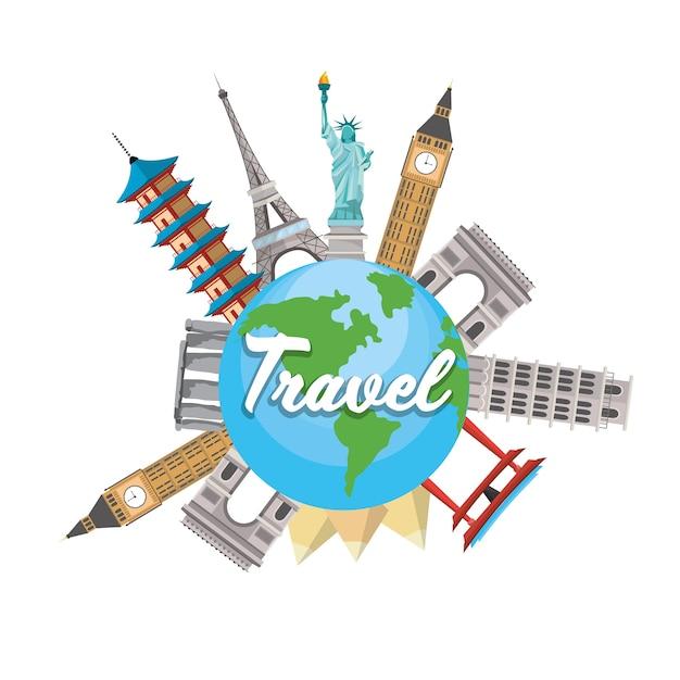 Wereldwijde planeet en torens bestemming reizen Premium Vector