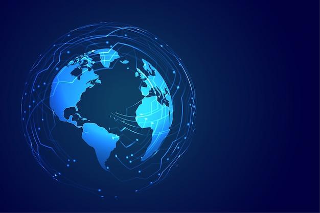 Wereldwijde technische achtergrond met schakelschema Gratis Vector