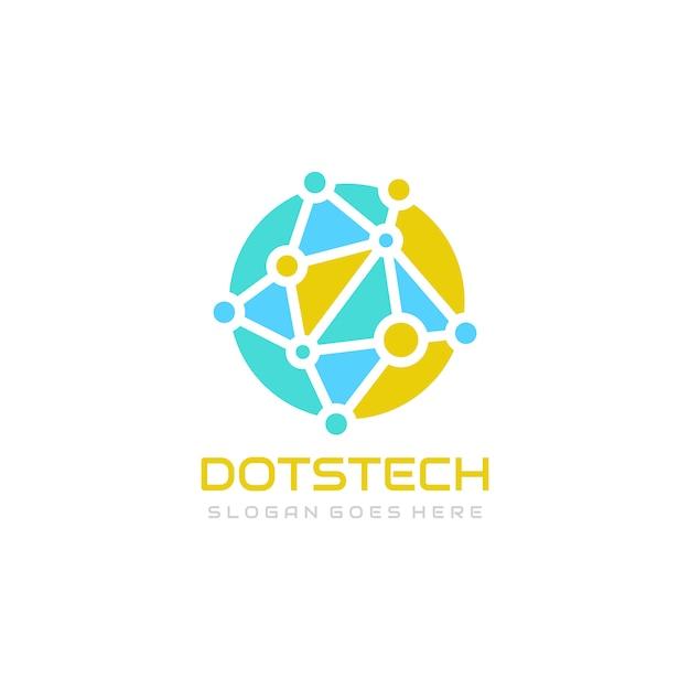 Wereldwijde technologie logo sjabloon Premium Vector