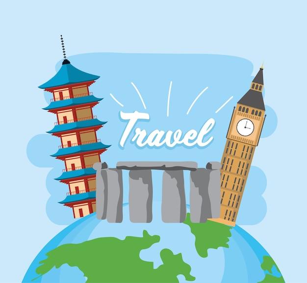 Wereldwijde verkenningstocht met paspoort en ticket Premium Vector