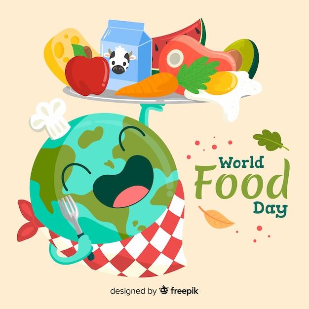 Wereldwijde voedsel dag hand getrokken Gratis Vector