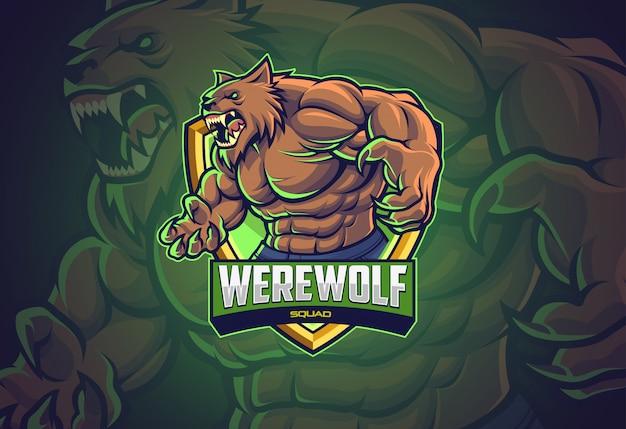 Werewolf esports logo-ontwerp voor uw team Premium Vector