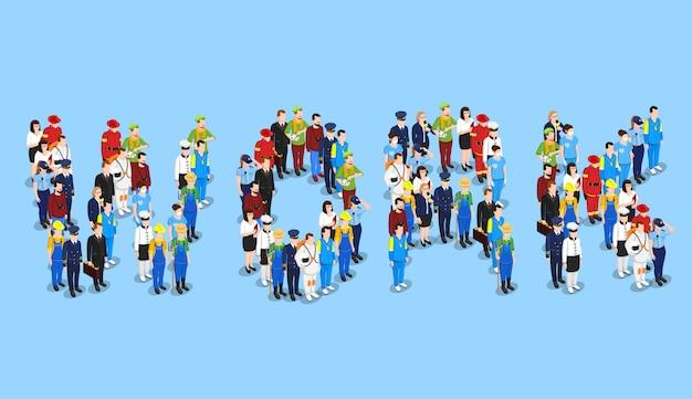 Werk beroepen mensen concept Gratis Vector