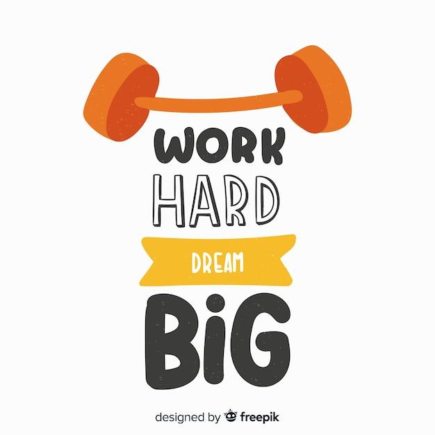 Werk hard droom groot sportcitaat Gratis Vector