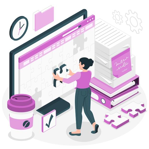 Werk in uitvoering concept illustratie Gratis Vector