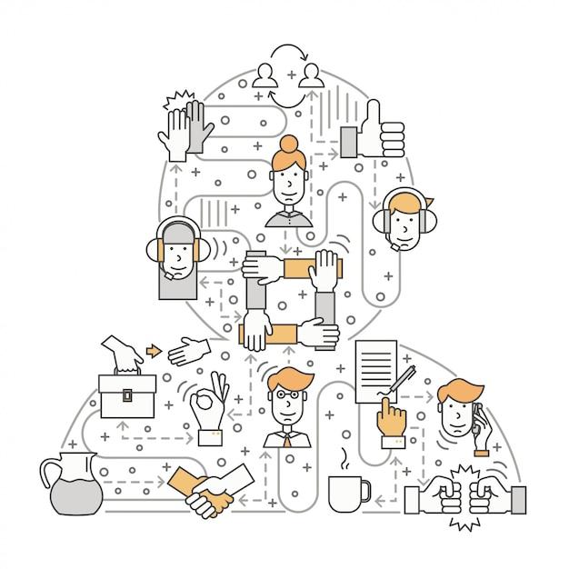 Werk met klantenconcept in vlakke lijnstijl Premium Vector