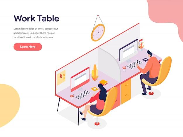 Werk tabel illustratie Premium Vector