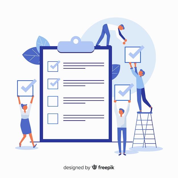 Werk team controle gigantische checklist achtergrond Gratis Vector