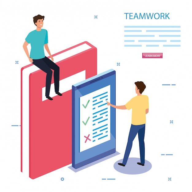Werk team met boek en smartphone Gratis Vector