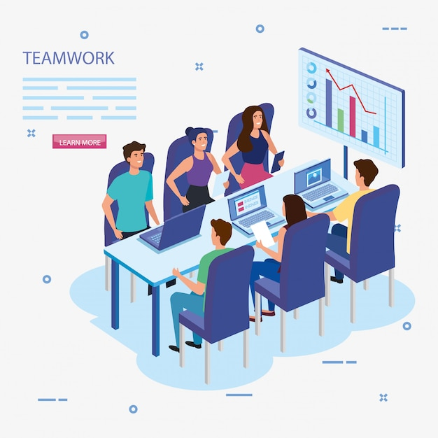 Werk teamgroep in vergadering en infographics Gratis Vector