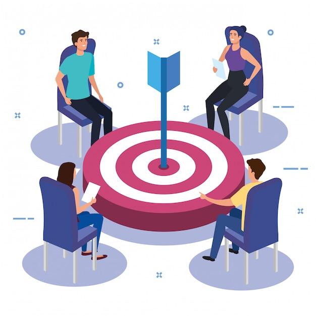 Werk teamgroep in vergadering met doel Gratis Vector