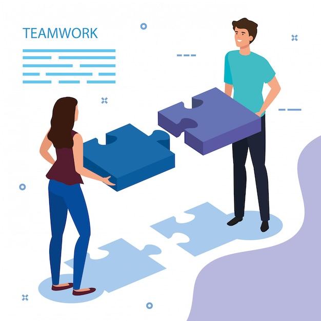 Werk teampaar met puzzelstukjes Gratis Vector