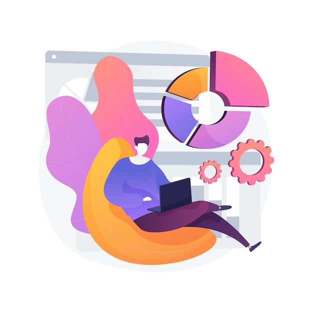 Werk thuiskantoor abstract concept vectorillustratie. online virtueel bureau, quarantainewerk op afstand, kantoorbaan vanuit huis, communicatiebeheertool, digitale teamvergadering abstracte metafoor. Gratis Vector