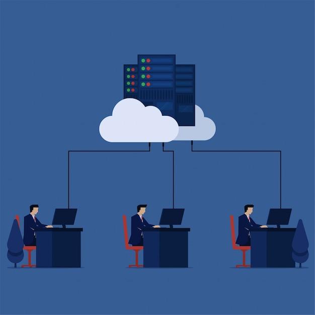 Werk van de bedrijfs het vlakke vectorconceptenwerknemer op bureaukantoor verbonden met de gegevenscentrummetafoor van de wolk van wolkopslag. Premium Vector