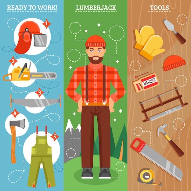 Werk van lumberjack verticale banners set Gratis Vector