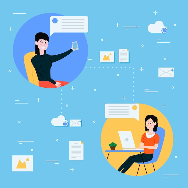 Werk vanuit huis en netwerk tussen collega's Gratis Vector