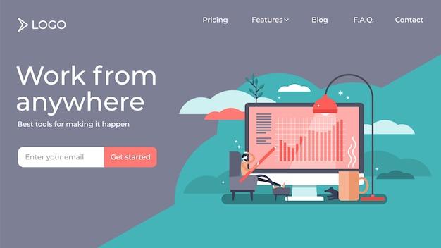 Werk vanuit huis tiny persoon vector illustratie bestemmingspagina sjabloonontwerp Premium Vector