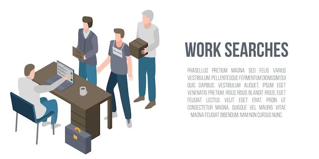 Werk zoekt concept banner, isometrische stijl Premium Vector