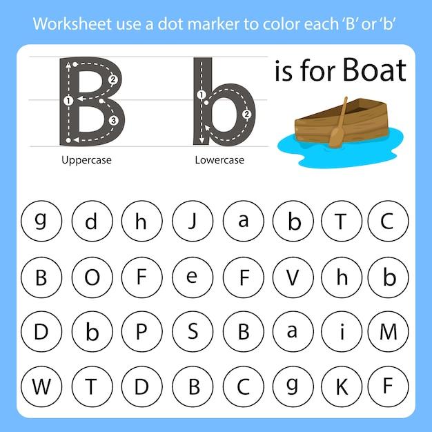 Werkblad gebruik een puntmarkering om elke b te kleuren Premium Vector