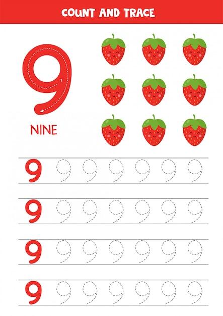 Werkblad voor het leren van cijfers met schattige kawaii-aardbeien. nummer negen. Premium Vector