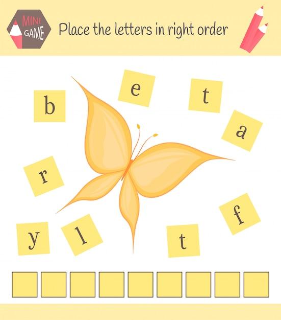 Werkblad voor kleuters woorden puzzel educatief spel voor kinderen. plaats de letters in de juiste volgorde Premium Vector