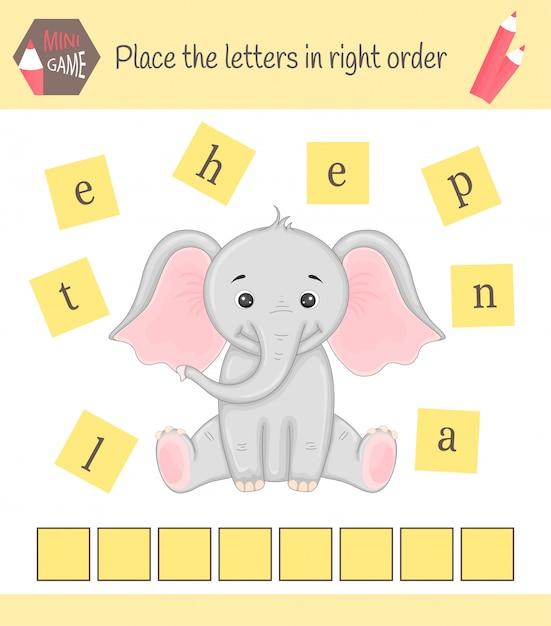 Werkblad voor preschool kinderen woorden puzzel Premium Vector