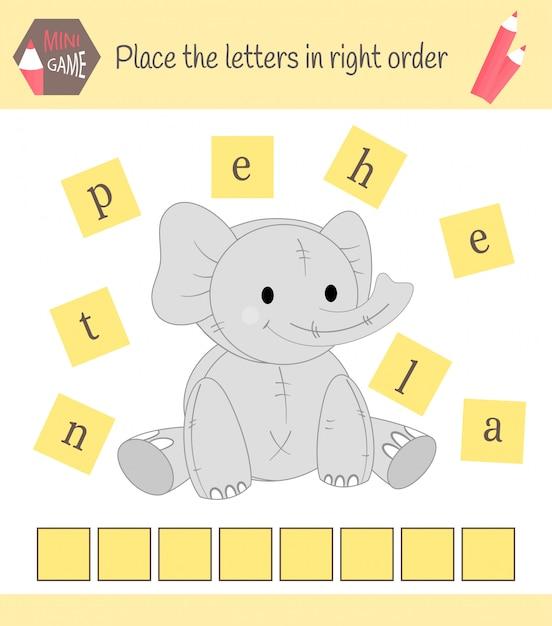 Werkblad voor voorschoolse kinderen woorden puzzel educatief spel voor kinderen. plaats de letters in de juiste volgorde Premium Vector