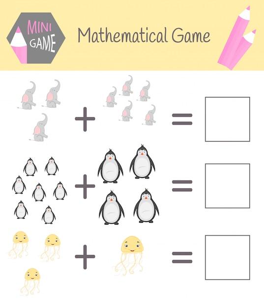 Werkboek over wiskunde voor voorschoolse educatie. puzzels voor kinderen. leer tellen. los voorbeelden op Premium Vector