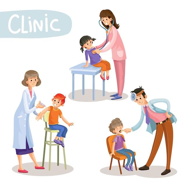 Werken in kliniek kinderarts cartoon vector Gratis Vector