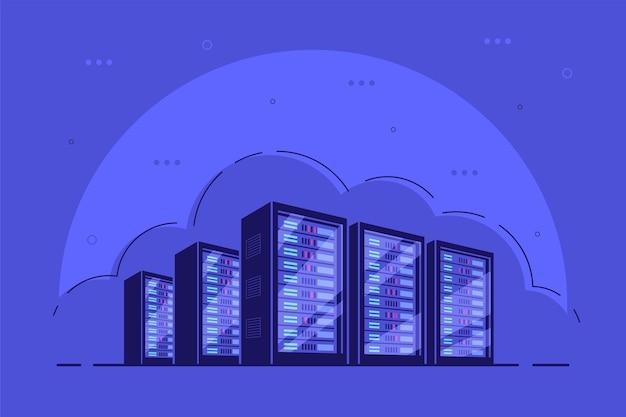 Werkende serverkasten. gegevensopslag, cloudopslag, datacenter. Premium Vector